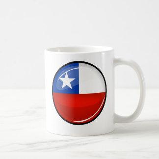 Glossy Round Chilean Flag Classic White Coffee Mug