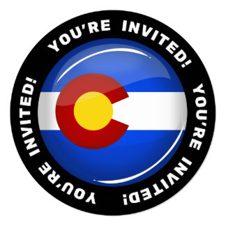 Glossy Round Colorado Flag Card
