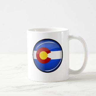 Glossy Round Colorado Flag Coffee Mug