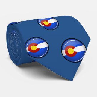 Glossy Round Colorado Flag Tie