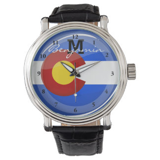 Glossy Round Colorado Flag Watch