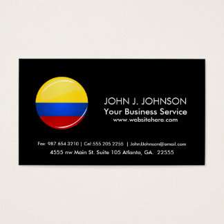 Glossy Round Columbian Flag Business Card