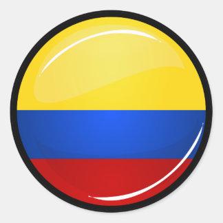 Glossy Round Columbian Flag Classic Round Sticker