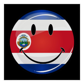 Glossy Round Costa Rican Flag Poster