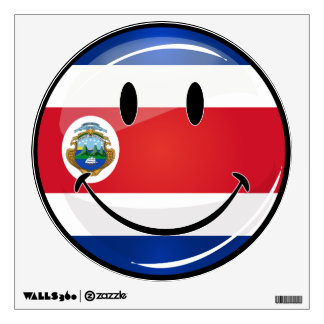 Glossy Round Costa Rican Flag Wall Sticker