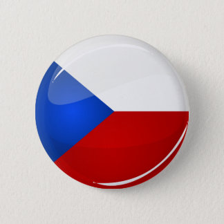 Glossy Round  Czech Rep. Flag Pinback Button