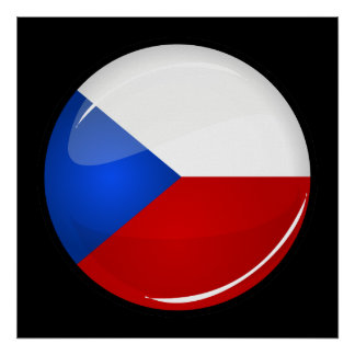 Glossy Round  Czech Rep. Flag Poster