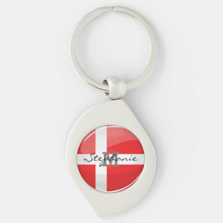 Glossy Round Denmark Flag Silver-Colored Swirl Metal Keychain