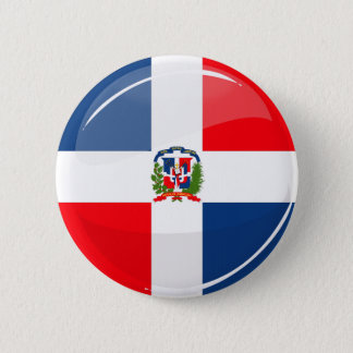 Glossy Round Dominican Flag Pinback Button