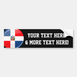 Glossy Round Dominican Republic Flag Bumper Sticker