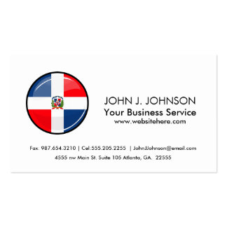 Glossy Round Dominican Republic Flag Business Card