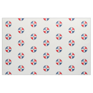Glossy Round Dominican Republic Flag Fabric