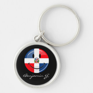 Glossy Round Dominican Republic Flag Smiley Keychain