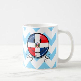 Glossy Round Dominican Republic Flag Smiley Classic White Coffee Mug