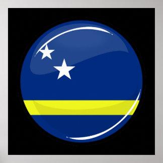 Glossy Round Flag Curacao Flag Print
