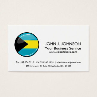 Glossy Round Flag of Bahamas Business Card