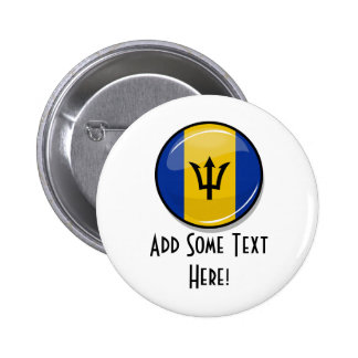 Glossy Round Flag of Barbados Button