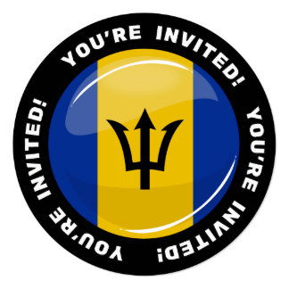 Glossy Round Flag of Barbados Card