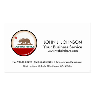 Glossy Round Flag of California Double-Sided Standard Business Cards (Pack Of 100)
