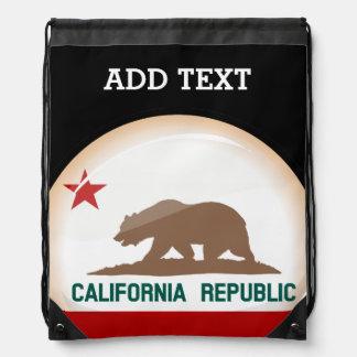 Glossy Round Flag of California Drawstring Bag