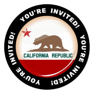 Glossy Round Flag of California Invitation