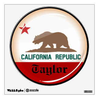 Glossy Round Flag of California Wall Sticker