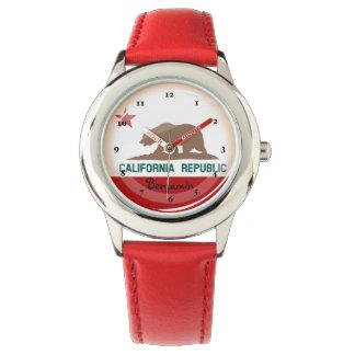 Glossy Round Flag of California Watch