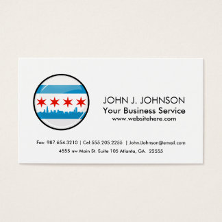 Glossy Round Flag of Chicago Business Card