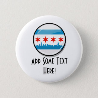 Glossy Round Flag of Chicago Button