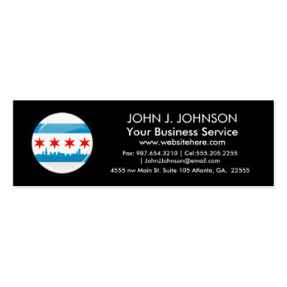 Glossy Round Flag of Chicago Double-Sided Mini Business Cards (Pack Of 20)