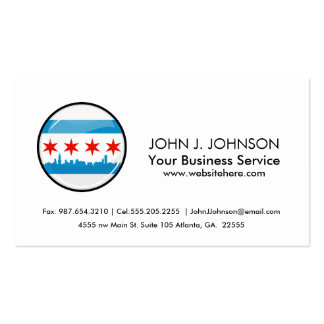 Glossy Round Flag of Chicago Double-Sided Standard Business Cards (Pack Of 100)