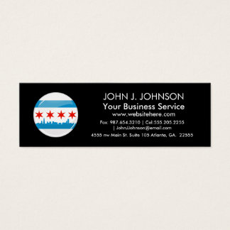 Glossy Round Flag of Chicago Mini Business Card