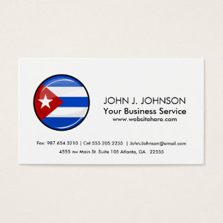 Glossy Round Flag of Cuba Business Card