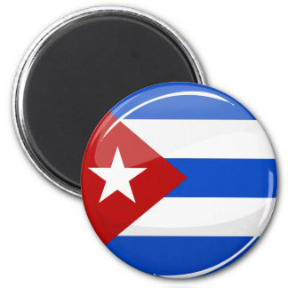 Glossy Round Flag of Cuba Magnet