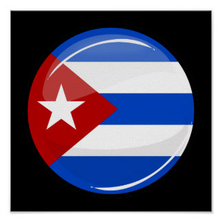 Glossy Round Flag of Cuba Poster
