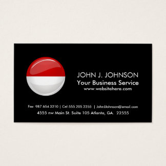 Glossy Round Flag of Monaco Business Card