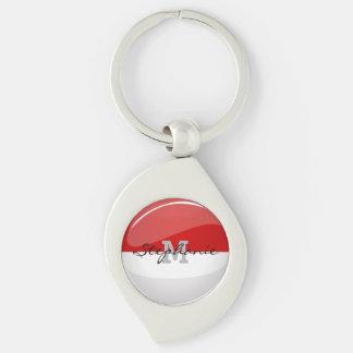 Glossy Round Flag of Monaco Keychain