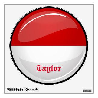 Glossy Round Flag of Monaco Wall Sticker