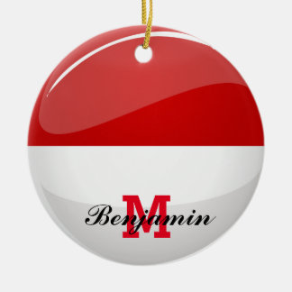 Glossy Round Flag of Poland Double-Sided Ceramic Round Christmas Ornament
