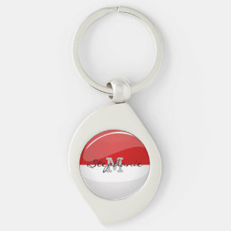 Glossy Round Flag of Poland Silver-Colored Swirl Keychain