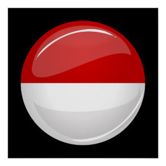 Glossy Round Flag of Poland Poster