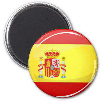 Glossy Round Flag of Spain Magnet