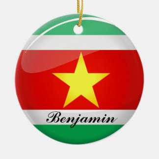 Glossy Round Flag of Suriname Double-Sided Ceramic Round Christmas Ornament