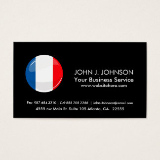 Glossy Round French Flag Business Card