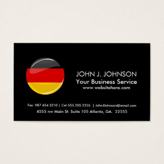 Glossy Round German Flag Business Card