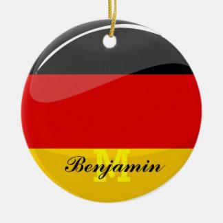Glossy Round German Flag Ceramic Ornament
