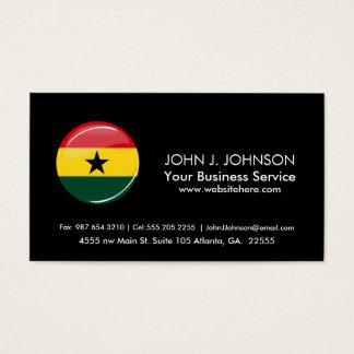 Glossy Round Ghana Flag Business Card