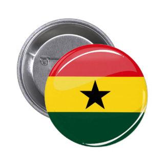 Glossy Round Ghana Flag Button