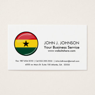 Glossy Round Ghanian Flag Business Card