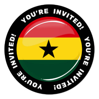 Glossy Round Ghanian Flag Card